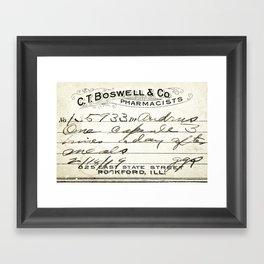 Vintage Prescription Label Framed Art Print