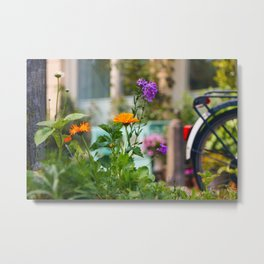 Flowers and a bike in the streets of Amsterdam Metal Print