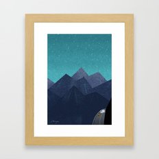 Mountain path at night Framed Art Print