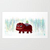 Lion and Buddha Art Print