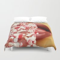 lip Duvet Covers featuring Mint Lip  by Bougiee Inc.