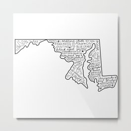 Maryland Word Art Metal Print