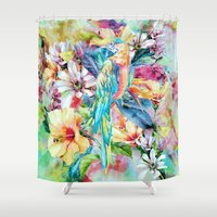 parrot Shower Curtains featuring PARROT by RIZA PEKER