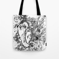 panic at the disco Tote Bags featuring panic by Maethawee Chiraphong
