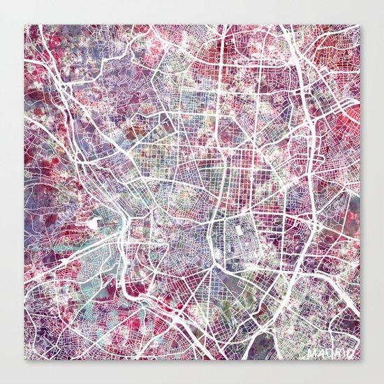 Madrid map Canvas Print