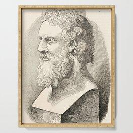Vintage Plato The Philosopher Illustration Serving Tray