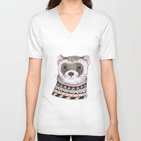 ferret V-neck T-shirts featuring Hipster Ferret by Indi Maverick