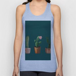 Three Cacti On Green Background Unisex Tank Top