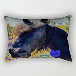 Black Horse Singing Hearts of Love Rectangular Pillow