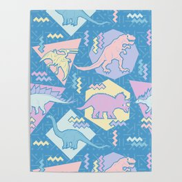 Nineties Dinosaurs Pattern  - Pastel version Poster