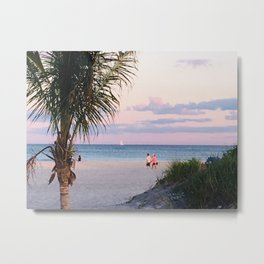 Lovers walk beach Metal Print