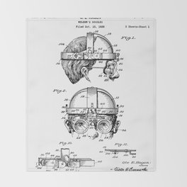 Welding Goggles Patent - Welder Art - Black And White Throw Blanket