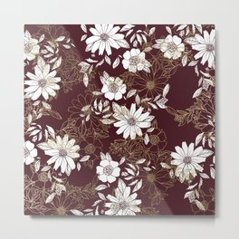Elegant burgundy white faux gold modern flowers Metal Print