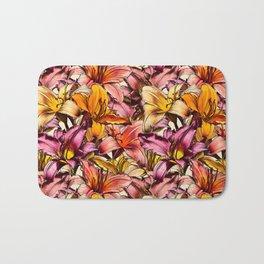 Daylily Drama - a floral illustration pattern Bath Mat