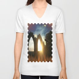 Fire at the tower Unisex V-Neck