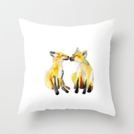 Two Baby Foxes Throw Pillow