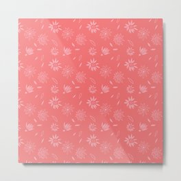 Coral Pink Flora Pattern 2 Metal Print