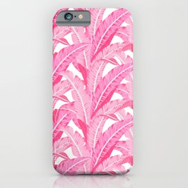 Pink banana leaves tropical pattern on white iPhone Case