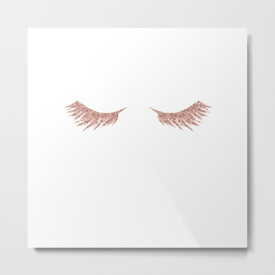 Pretty Lashes Rose Gold Glitter Pink Metal Print