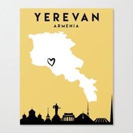 YEREVAN ARMENIA LOVE CITY SILHOUETTE SKYLINE ART Canvas Print