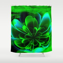 Abstract Green Flower Shower Curtain