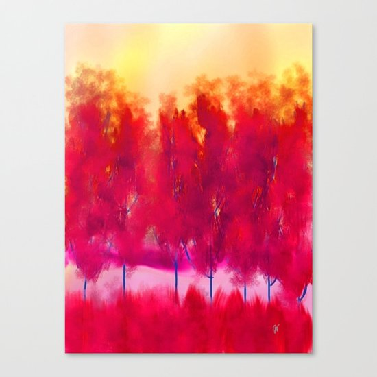Sunset in Fall Abstract Landscape Canvas Print