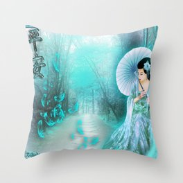 Geisha In Teal Throw Pillow