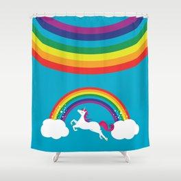 Unicorn Rainbow in the Sky Shower Curtain
