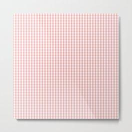 Mini Lush Blush Pink and White Gingham Check Plaid Metal Print