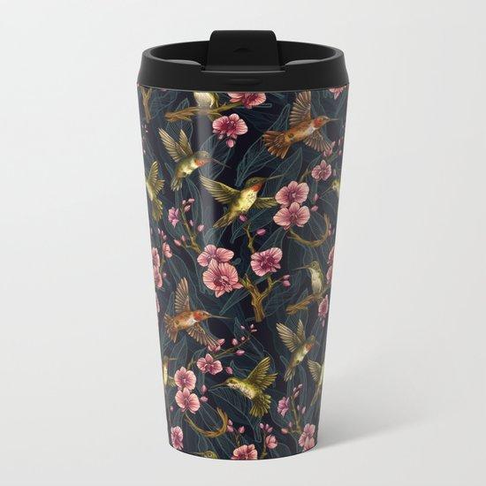 Hummingbird Pattern Metal Travel Mug