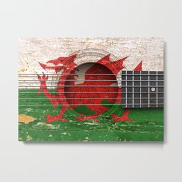 Old Vintage Acoustic Guitar with Welsh Flag Metal Print