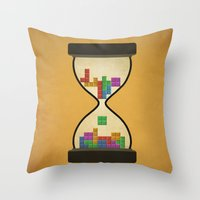 tetris Throw Pillows featuring tetris by gazonula