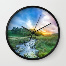 Sunset summer in Wicklow Mountains Wall Clock