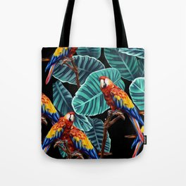 tropical leaves macaw pattern 2 Tote Bag