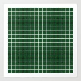 Cal Poly Pomona green - green color - White Lines Grid Pattern Art Print