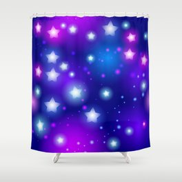 Milky Way Abstract pattern with neon stars on blue background Shower Curtain