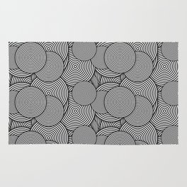 Monochrome Circles Concentric Polygons Rug