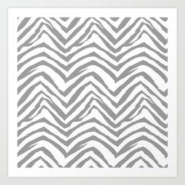 Chevron stripes zebra pattern minimal grey and white basic pattern nursery home decor Art Print