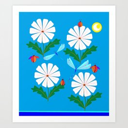 White Spring Daisies, Dragonflies, Lady Bugs and the Sun Art Print