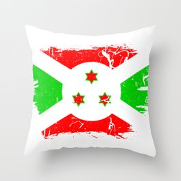 Distressed Burundi Flag Graffiti Throw Pillow