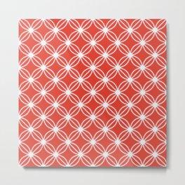 Abstract Circle Dots Red Metal Print