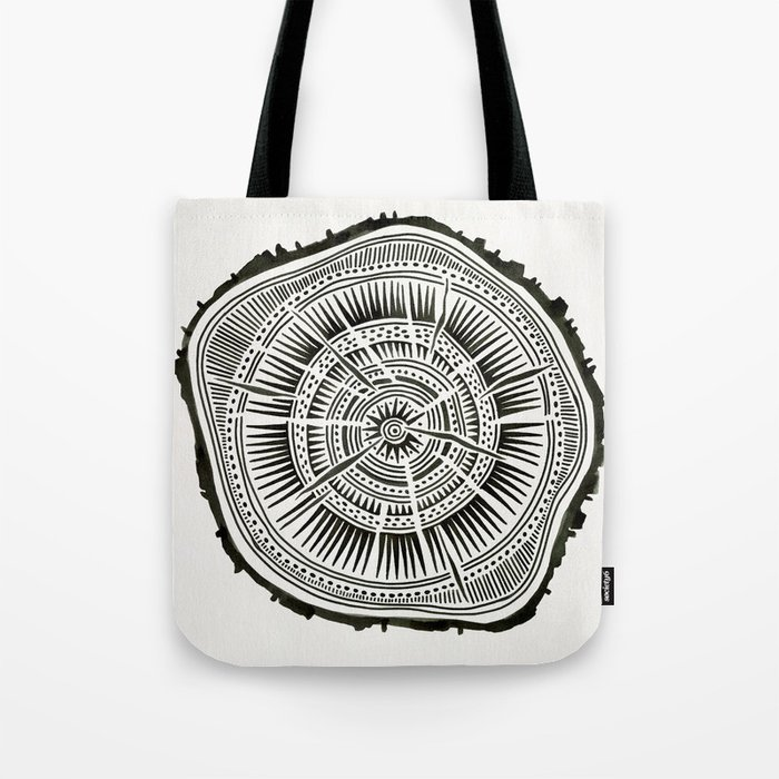 Paper Birch – Black Tree Rings Tote Bag