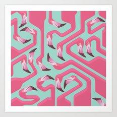 Flamingo Maze on beach glass background. Art Print