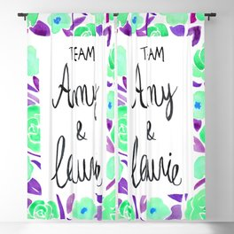 Amy and Laurie Rose Pattern - Mint Green and Purple Palette Blackout Curtain