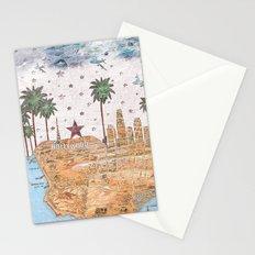 Los Angeles skyline vintage map Stationery Cards