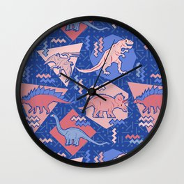 Nineties Dinosaurs Pattern  - Rose Quartz and Serenity version Wall Clock