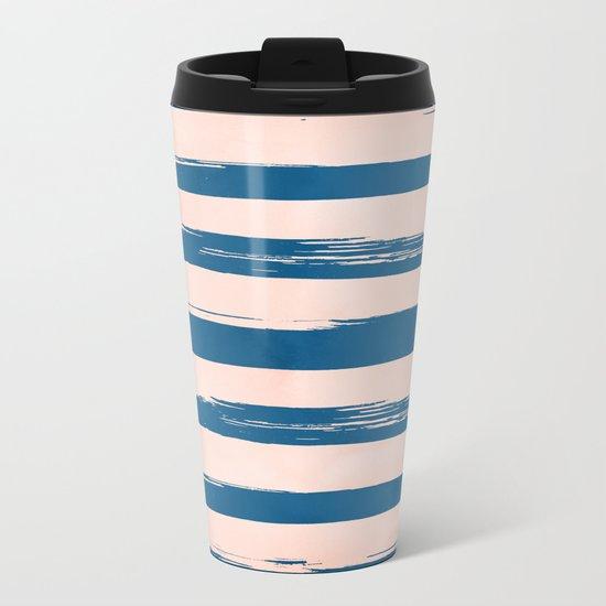 Trendy Stripes - Sweet Peach Coral on Saltwater Taffy Teal Metal Travel Mug