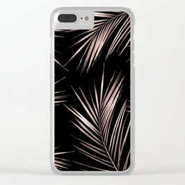 Rosegold Palm Tree Leaves on Midnight Black Clear iPhone Case