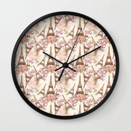 Eiffel Tower Pattern Wall Clock