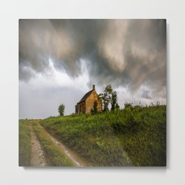 Under the Weather - Storm Clouds Hang Low Over an Abandoned Farmhouse in Oklahoma Metal Print